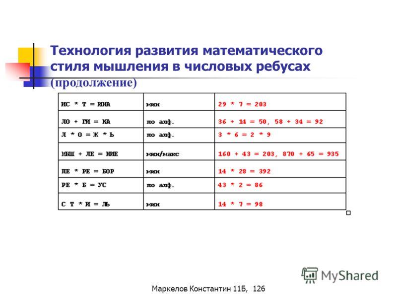 Маркелов Константин 11Б, 126 Технология развития математического стиля мышления в числовых ребусах (продолжение)