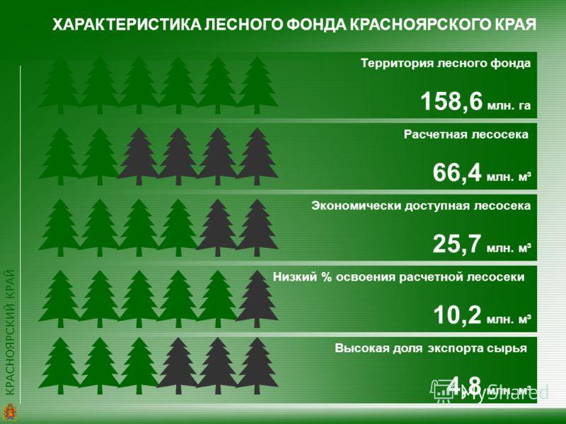 КРАСНОЯРСКИЙ КРАЙ ХАРАКТЕРИСТИКА ЛЕСНОГО ФОНДА КРАСНОЯРСКОГО КРАЯ Территория лесного фонда 158,6 млн. га Расчетная лесосека 66,4 млн. м³ Экономически доступная лесосека 25,7 млн. м³ Низкий % освоения расчетной лесосеки 10,2 млн. м³ Высокая доля экспо
