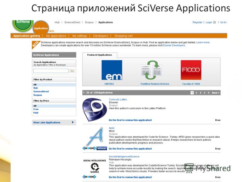 Страница приложений SciVerse Applications