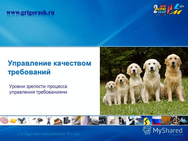 Сообщество аналитиков России www.grigorash.ru Управление качеством требований Уровни зрелости процесса управления требованиями