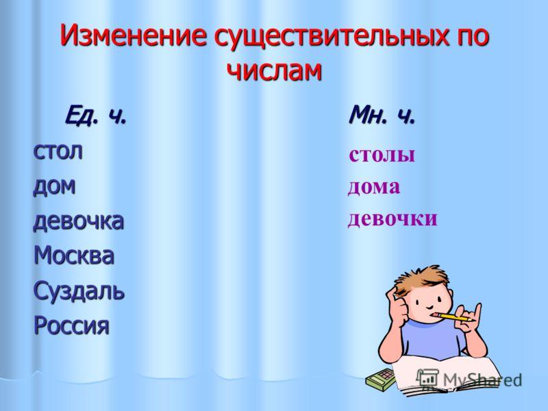 Изменение существительных по числам Ед. ч. Мн. ч. Ед. ч. Мн. ч.столдомдевочкаМоскваСуздальРоссия столы девочки дома