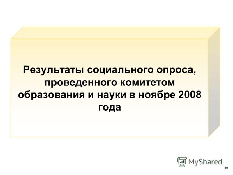 19 Результаты социального опроса, проведенного комитетом образования и науки в ноябре 2008 года