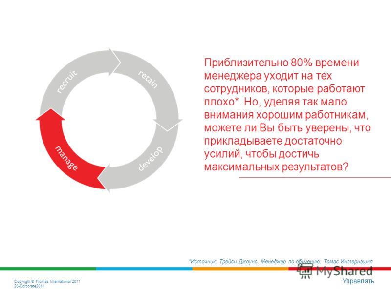 Copyright © Thomas International 2011 23-Corporate2011 Управлять Приблизительно 80% рабочего времени уходит на тех сотрудников, кто плохо справляется со своими обязанностями*. Но, уделяя так мало внимания хорошим работникам, можете ли Вы быть уверены