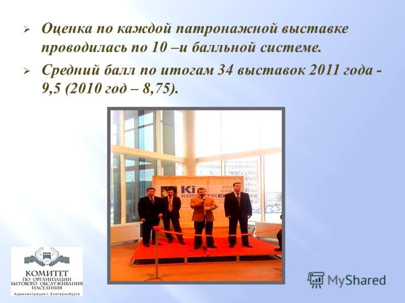 Оценка по каждой патронажной выставке проводилась по 10 – и балльной системе. Средний балл по итогам 34 выставок 2011 года - 9,5 (2010 год – 8,75).