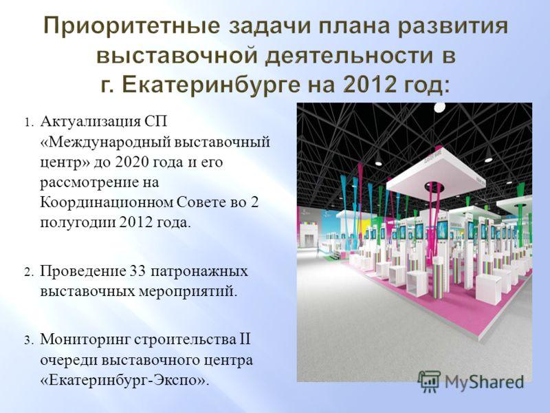 1. Актуализация СП «Международный выставочный центр» до 2020 года и его рассмотрение на Координационном Совете во 2 полугодии 2012 года. 2. Проведение 33 патронажных выставочных мероприятий. 3. Мониторинг строительства II очереди выставочного центра