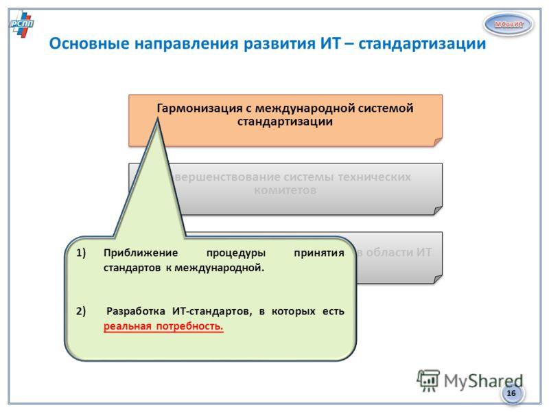 16 Основные направления развития ИТ – стандартизации 1 Гармонизация с международной системой стандартизации Совершенствование системы технических комитетов Планирование развития стандартов в области ИТ 1)Приближение процедуры принятия стандартов к ме