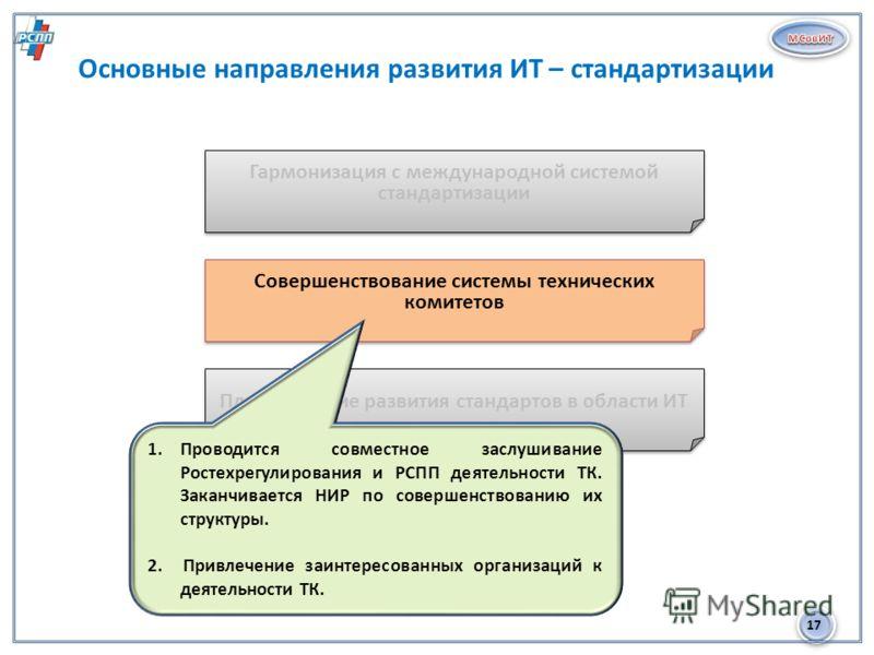 17 Основные направления развития ИТ – стандартизации 2 Гармонизация с международной системой стандартизации Совершенствование системы технических комитетов Планирование развития стандартов в области ИТ 1.Проводится совместное заслушивание Ростехрегул