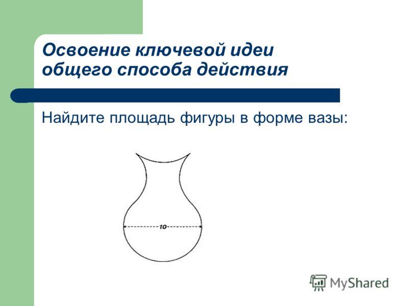 Освоение ключевой идеи общего способа действия Найдите площадь фигуры в форме вазы: