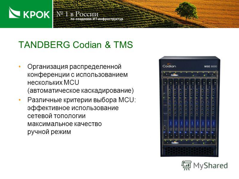 TANDBERG Codian & TMS Организация распределенной конференции с использованием нескольких MCU (автоматическое каскадирование) Различные критерии выбора MCU: эффективное использование сетевой топологии максимальное качество ручной режим