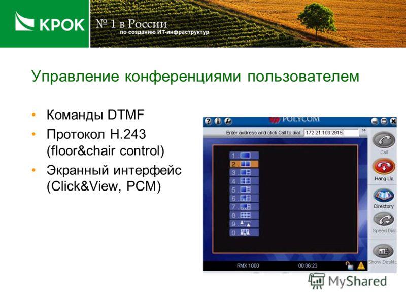 Управление конференциями пользователем Команды DTMF Протокол H.243 (floor&chair control) Экранный интерфейс (Click&View, PCM)
