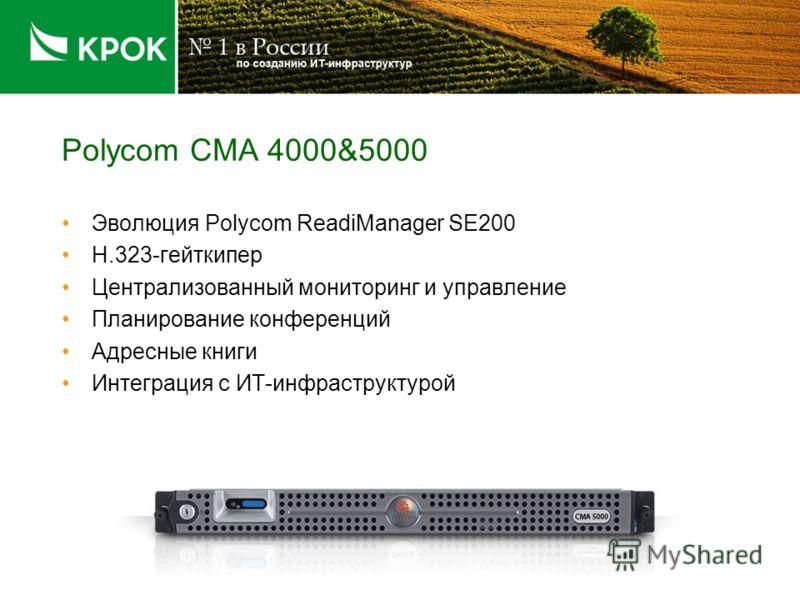 Polycom CMA 4000&5000 Эволюция Polycom ReadiManager SE200 H.323-гейткипер Централизованный мониторинг и управление Планирование конференций Адресные книги Интеграция с ИТ-инфраструктурой