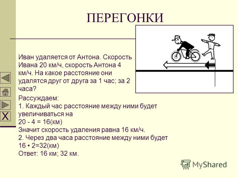 ПЕРЕГОНКИ Иван удаляется от Антона. Скорость Ивана 20 км/ч, скорость Антона 4 км/ч. На какое расстояние они удалятся друг от друга за 1 час; за 2 часа? Рассуждаем: 1. Каждый час расстояние между ними будет увеличиваться на 20 - 4 = 16(км) Значит скор