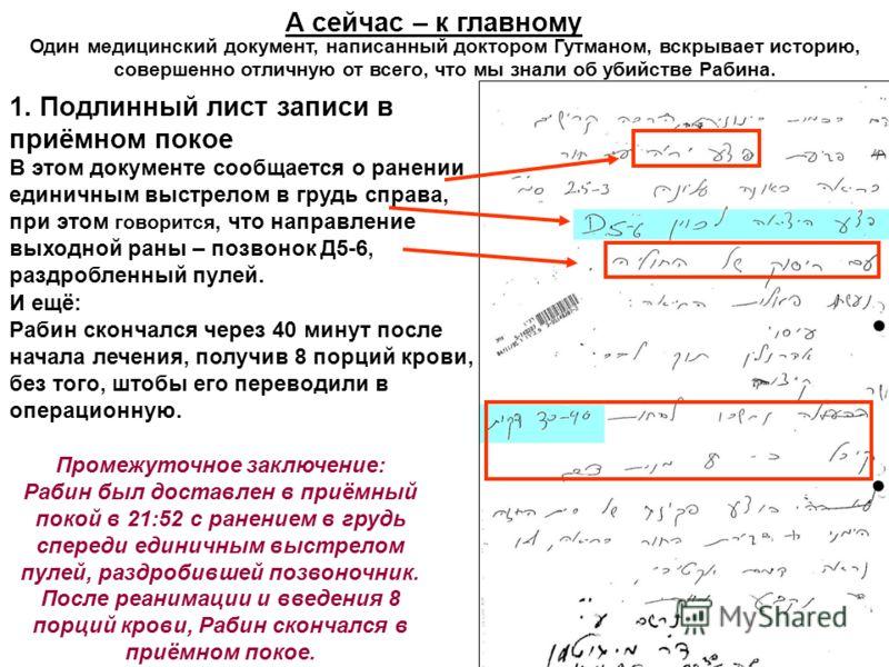 А сейчас – к главному Один медицинский документ, написанный доктором Гутманом, вскрывает историю, совершенно отличную от всего, что мы знали об убийстве Рабина. 1. Подлинный лист записи в приёмном покое В этом документе сообщается о ранении единичным
