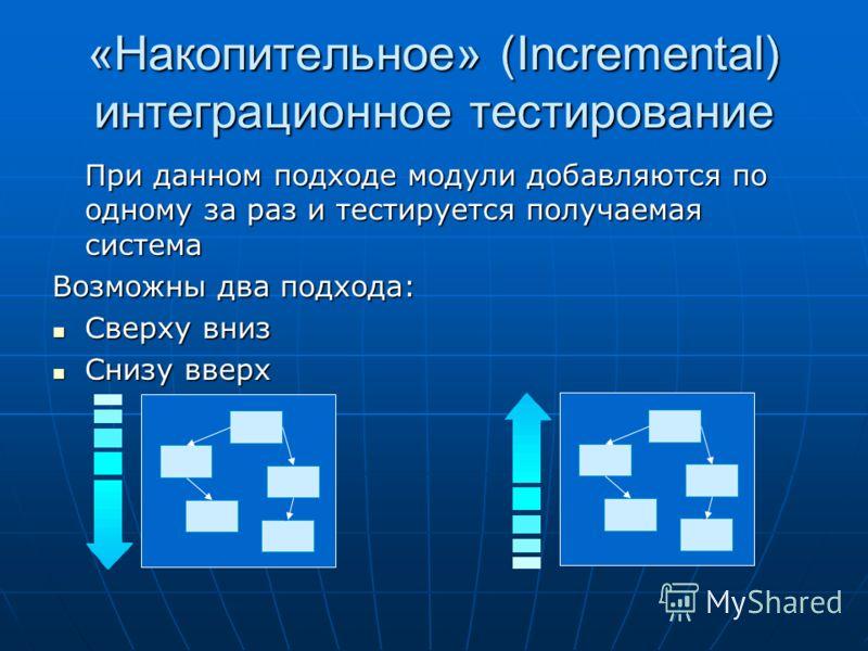 «Накопительное» (Incremental) интеграционное тестирование При данном подходе модули добавляются по одному за раз и тестируется получаемая система Возможны два подхода: Сверху вниз Сверху вниз Снизу вверх Снизу вверх