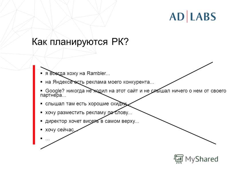Как планируются РК? я всегда хожу на Rambler... на Яндексе есть реклама моего конкурента... Google? никогда не ходил на этот сайт и не слышал ничего о нем от своего партнера... слышал там есть хорошие скидки... хочу разместить рекламу по слову... дир