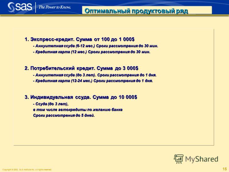 Copyright © 2003, SAS Institute Inc. All rights reserved. 15 Оптимальный продуктовый ряд 1. Экспресс-кредит. Сумма от 100 до 1 000$ 1. Экспресс-кредит. Сумма от 100 до 1 000$ - Аннуитетная ссуда (6-12 мес.) Сроки рассмотрения до 30 мин. - Аннуитетная
