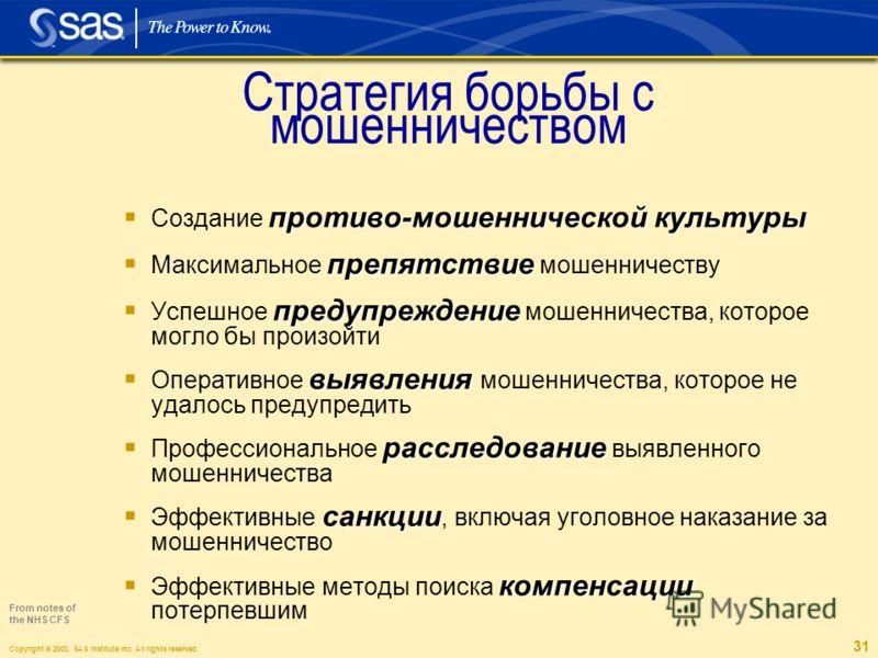 Copyright © 2003, SAS Institute Inc. All rights reserved. 31 противо-мошеннической культуры Создание противо-мошеннической культуры препятствие Максимальное препятствие мошенничеству предупреждение Успешное предупреждение мошенничества, которое могло