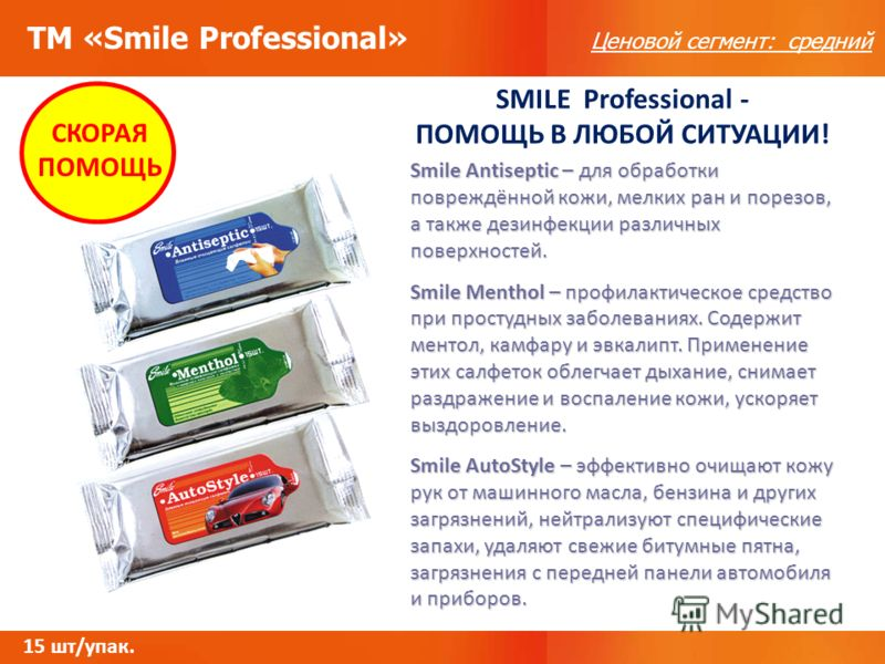 ТМ «Smile Professional» Ценовой сегмент: средний СКОРАЯ ПОМОЩЬ SMILE Professional - ПОМОЩЬ В ЛЮБОЙ СИТУАЦИИ! Smile Antiseptic – для обработки повреждённой кожи, мелких ран и порезов, а также дезинфекции различных поверхностей. Smile Menthol – профила