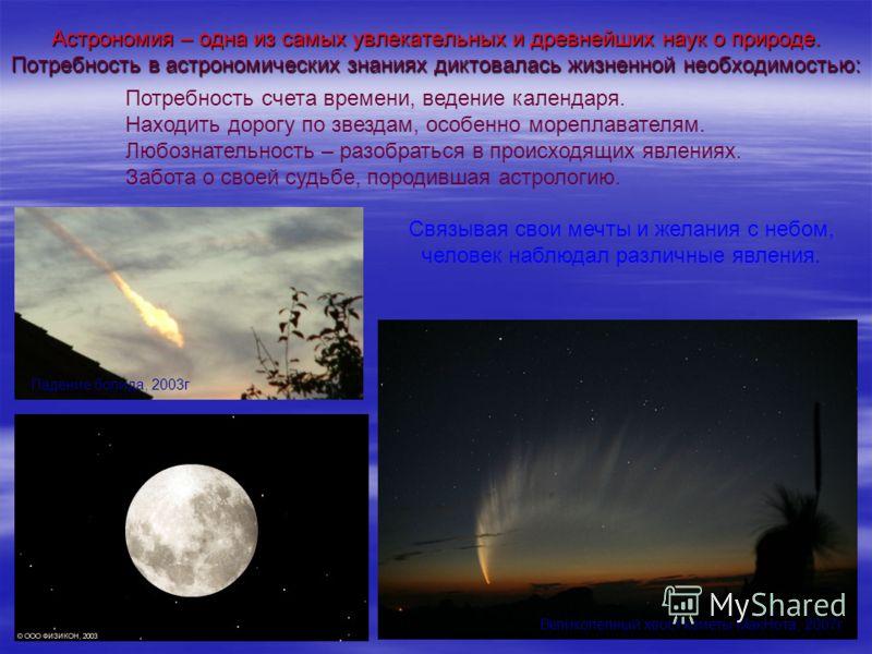 Астрономия – одна из самых увлекательных и древнейших наук о природе. Потребность в астрономических знаниях диктовалась жизненной необходимостью: Потребность счета времени, ведение календаря. Находить дорогу по звездам, особенно мореплавателям. Любоз