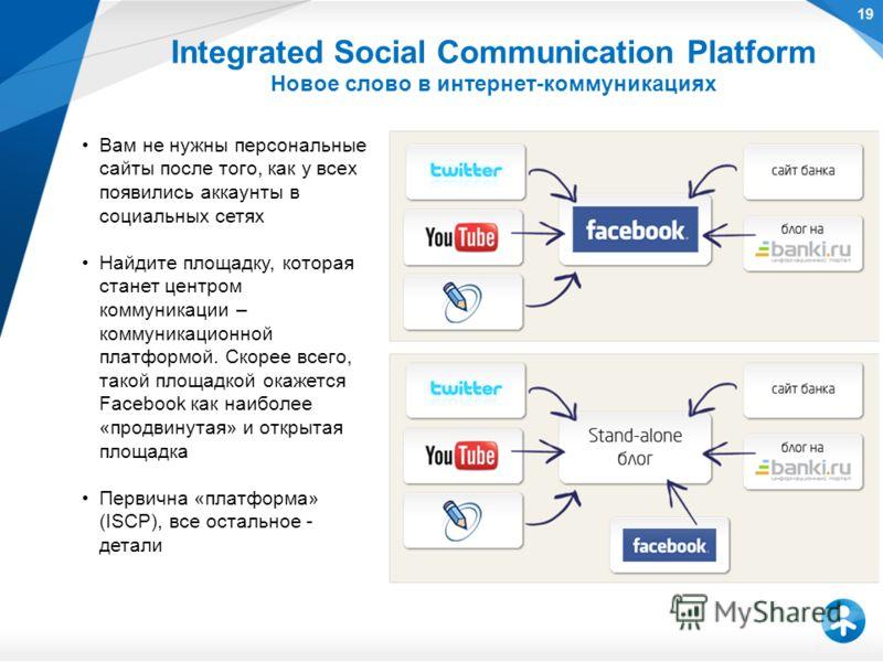 Вам не нужны персональные сайты после того, как у всех появились аккаунты в социальных сетях Найдите площадку, которая станет центром коммуникации – коммуникационной платформой. Скорее всего, такой площадкой окажется Facebook как наиболее «продвинута