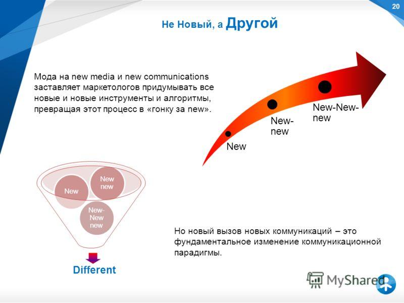 New New- new New-New- new Мода на new media и new communications заставляет маркетологов придумывать все новые и новые инструменты и алгоритмы, превращая этот процесс в «гонку за new». Но новый вызов новых коммуникаций – это фундаментальное изменение