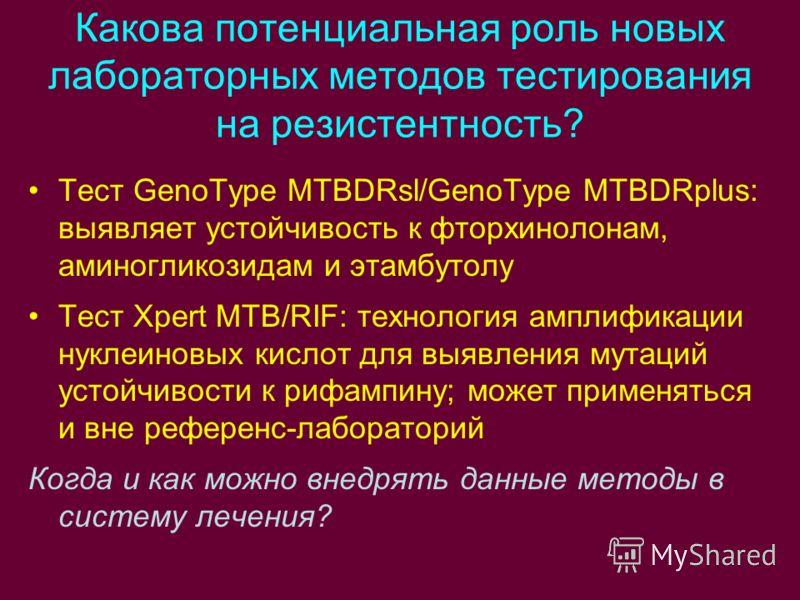 Какова потенциальная роль новых лабораторных методов тестирования на резистентность? Тест GenoType MTBDRsl/GenoType MTBDRplus: выявляет устойчивость к фторхинолонам, аминогликозидам и этамбутолу Тест Xpert MTB/RIF: технология амплификации нуклеиновых