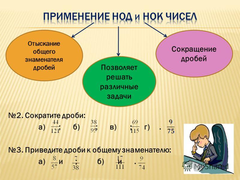 Позволяет решать различные задачи Сокращение дробей Отыскание общего знаменателя дробей 2. Сократите дроби: а) ; б) ; в) ; г). 3. Приведите дроби к общему знаменателю: а) и ; б) и.