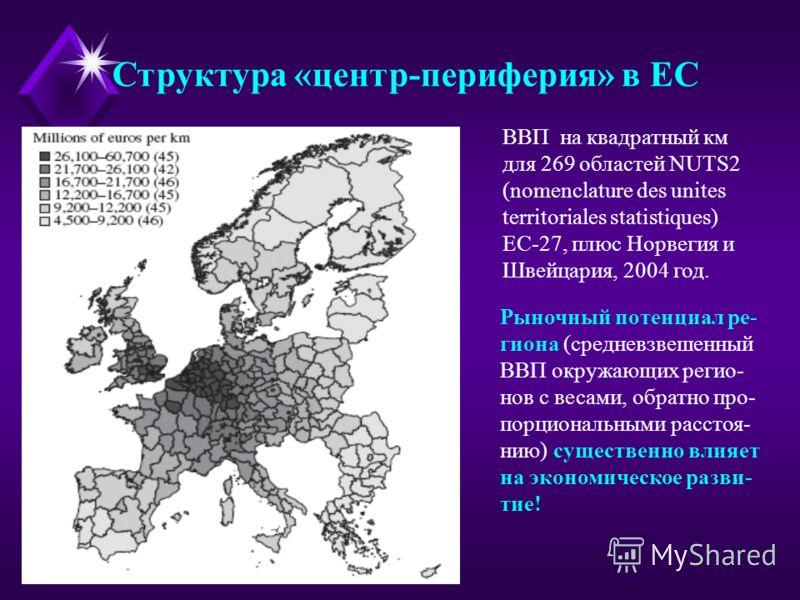 Структура «центр-периферия» в ЕС ВВП на квадратный км для 269 областей NUTS2 (nomenclature des unites territoriales statistiques) ЕС-27, плюс Норвегия и Швейцария, 2004 год. Рыночный потенциал ре- гиона (средневзвешенный ВВП окружающих регио- нов с в