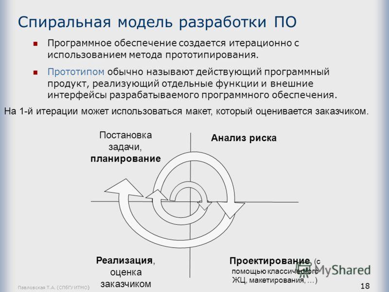 Павловская Т.А. (СПбГУ ИТМО) 18 Спиральная модель разработки ПО Программное обеспечение создается итерационно с использованием метода прототипирования. Прототипом обычно называют действующий программный продукт, реализующий отдельные функции и внешни