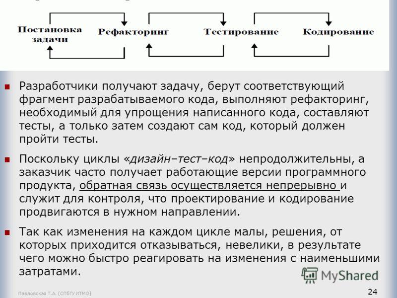 Павловская Т.А. (СПбГУ ИТМО) 24 Разработчики получают задачу, берут соответствующий фрагмент разрабатываемого кода, выполняют рефакторинг, необходимый для упрощения написанного кода, составляют тесты, а только затем создают сам код, который должен пр