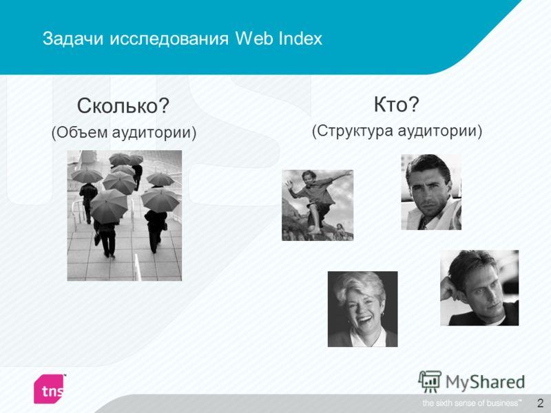 2 Сколько? (Объем аудитории) Кто? (Структура аудитории) Задачи исследования Web Index