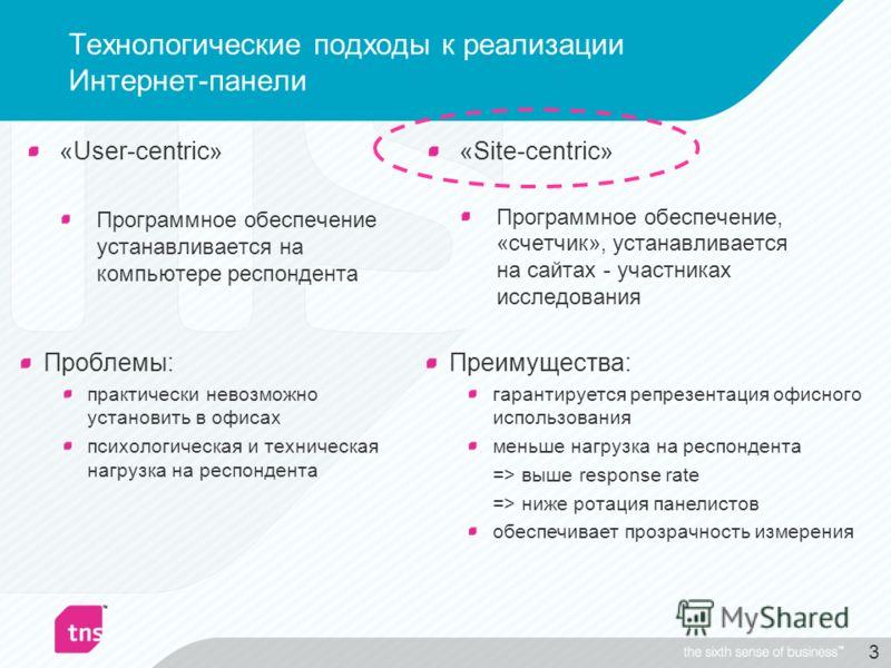 3 Технологические подходы к реализации Интернет-панели «User-centric» Программное обеспечение устанавливается на компьютере респондента «Site-centric» Программное обеспечение, «счетчик», устанавливается на сайтах - участниках исследования Проблемы: п