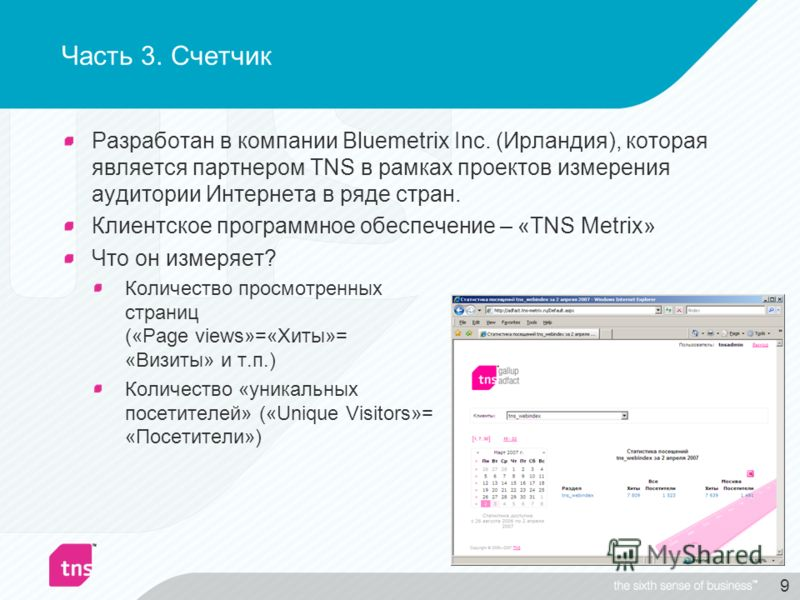 9 Часть 3. Счетчик Разработан в компании Bluemetrix Inc. (Ирландия), которая является партнером TNS в рамках проектов измерения аудитории Интернета в ряде стран. Клиентское программное обеспечение – «TNS Metrix» Что он измеряет? Количество просмотрен