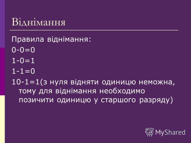 Віднімання Правила віднімання: 0-0=0 1-0=1 1-1=0 10-1=1(з нуля відняти одиницю неможна, тому для віднімання необходимо позичити одиницю у старшого разряду)