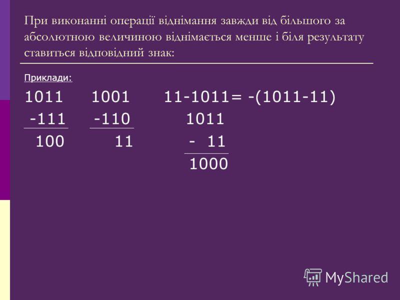 При виконанні операції віднімання завжди від більшого за абсолютною величиною віднімається менше і біля результату ставиться відповідний знак: Приклади: 1011 1001 11-1011= -(1011-11) -111 -110 1011 100 11 - 11 1000