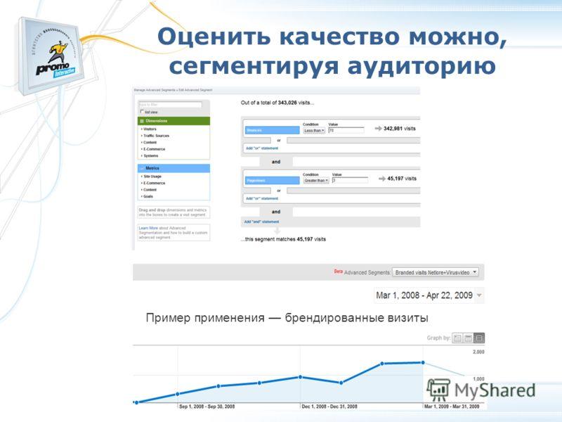 Оценить качество можно, сегментируя аудиторию Пример применения брендированные визиты