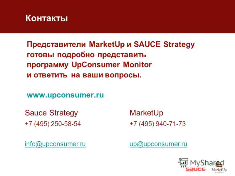 Представители MarketUp и SAUCE Strategy готовы подробно представить программу UpConsumer Monitor и ответить на ваши вопросы. www.upconsumer.ru Sauce Strategy +7 (495) 250-58-54 info@upconsumer.ru MarketUp +7 (495) 940-71-73 up@upconsumer.ru Контакты