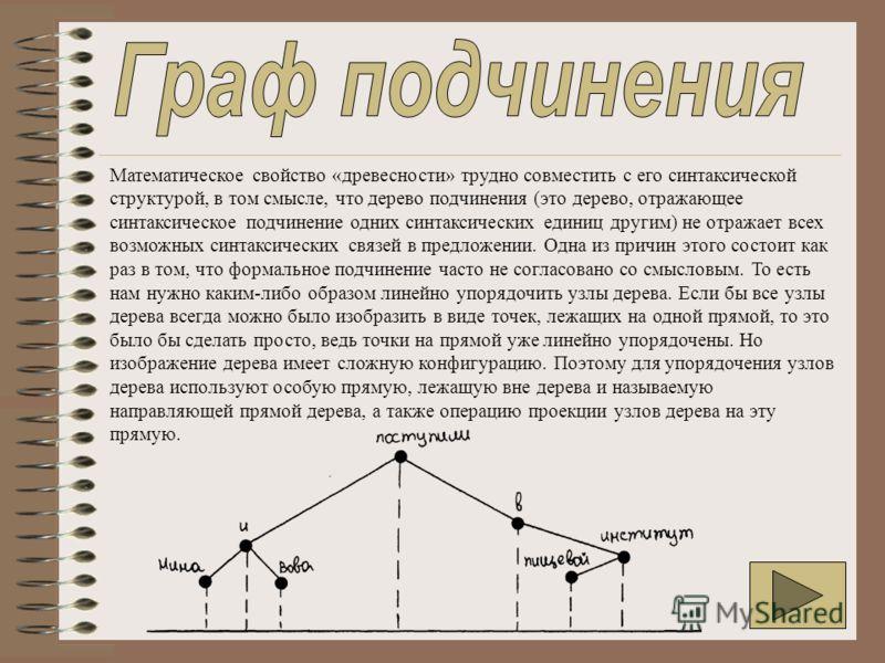 Математическое свойство «древесности» трудно совместить с его синтаксической структурой, в том смысле, что дерево подчинения (это дерево, отражающее синтаксическое подчинение одних синтаксических единиц другим) не отражает всех возможных синтаксическ