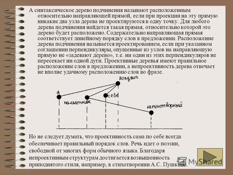 А синтаксическое дерево подчинения называют расположенным относительно направляющей прямой, если при проекции на эту прямую никакие два узла дерева не проектируются в одну точку. Для любого дерева подчинения найдется такая прямая, относительно которо