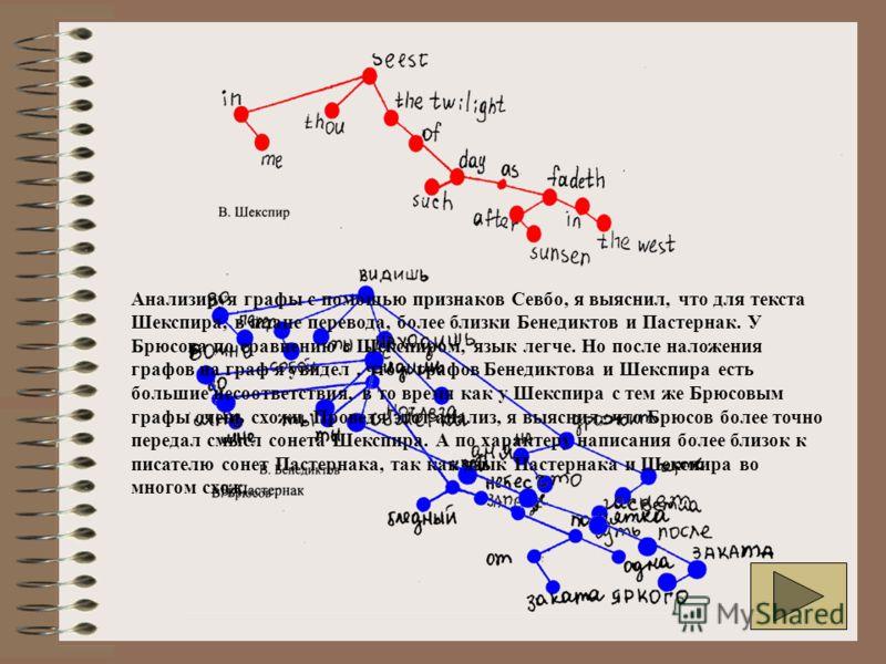 Анализируя графы с помощью признаков Севбо, я выяснил, что для текста Шекспира, в плане перевода, более близки Бенедиктов и Пастернак. У Брюсова по сравнению с Шекспиром, язык легче. Но после наложения графов на граф я увидел, что у графов Бенедиктов