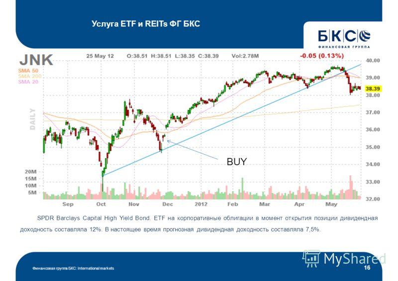 Услуга ETF и REITs ФГ БКС Финансовая группа БКС: International markets 16 SPDR Barclays Capital High Yield Bond. ETF на корпоративные облигации в момент открытия позиции дивидендная доходность составляла 12%. В настоящее время прогнозная дивидендная