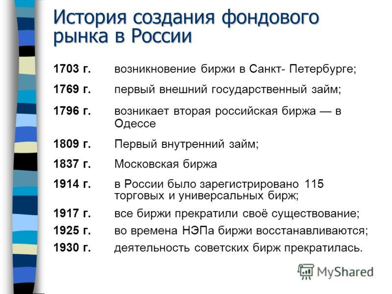 История создания фондового рынка в России 1703 г. возникновение биржи в Санкт- Петербурге; 1769 г. первый внешний государственный займ; 1796 г. возникает вторая российская биржа в Одессе 1809 г.Первый внутренний займ; 1837 г. Московская биржа 1914 г.