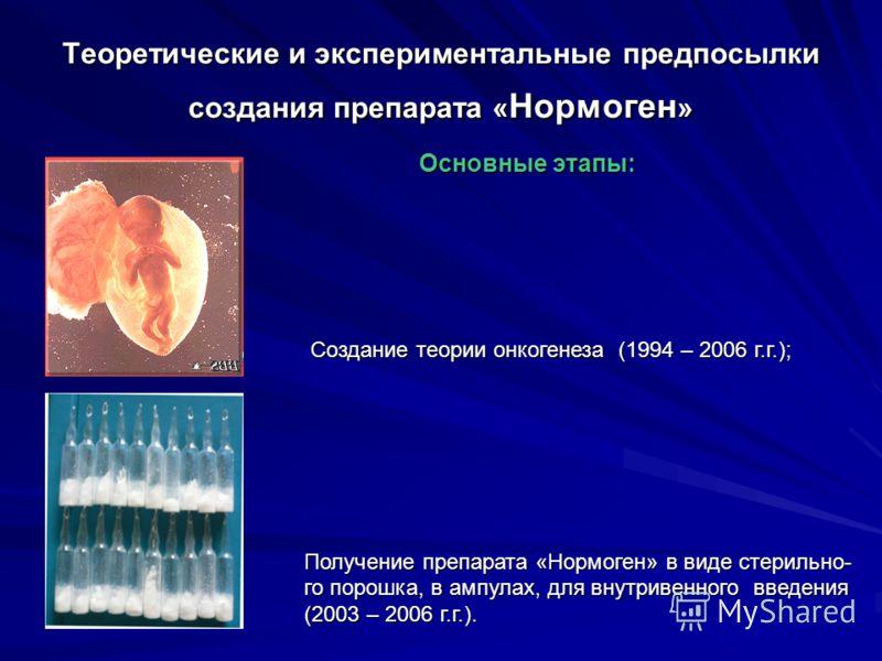 Теоретические и экспериментальные предпосылки создания препарата « Нормоген » Основные этапы: Основные этапы: Создание теории онкогенеза (1994 – 2006 г.г.); Создание теории онкогенеза (1994 – 2006 г.г.); Получение препарата «Нормоген» в виде стерильн