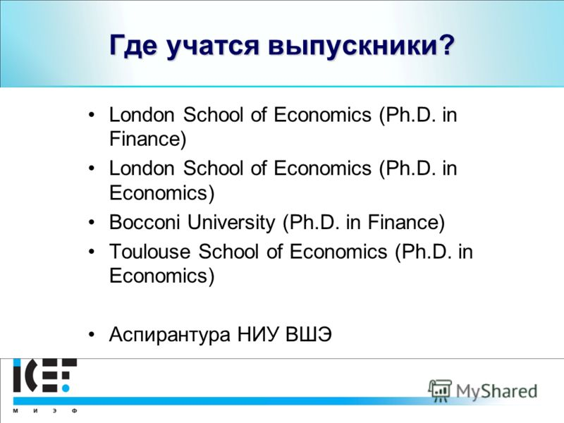 Где учатся выпускники? London School of Economics (Ph.D. in Finance) London School of Economics (Ph.D. in Economics) Bocconi University (Ph.D. in Finance) Toulouse School of Economics (Ph.D. in Economics) Аспирантура НИУ ВШЭ
