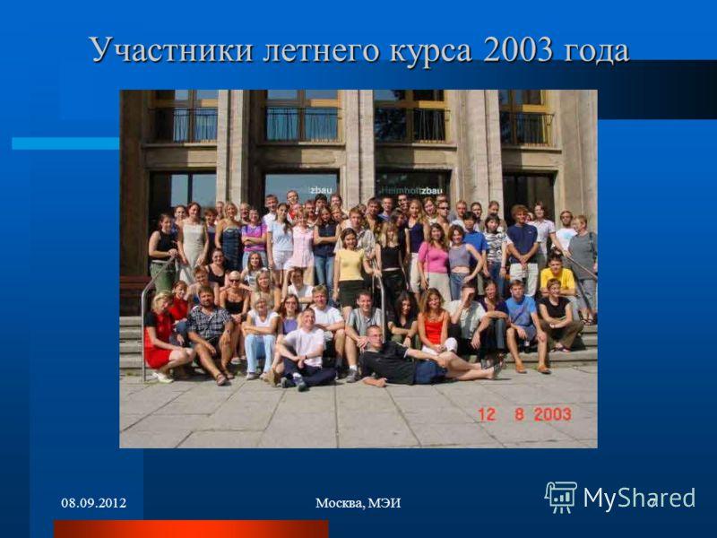 08.09.2012Москва, МЭИ7 Участники летнего курса 2003 года