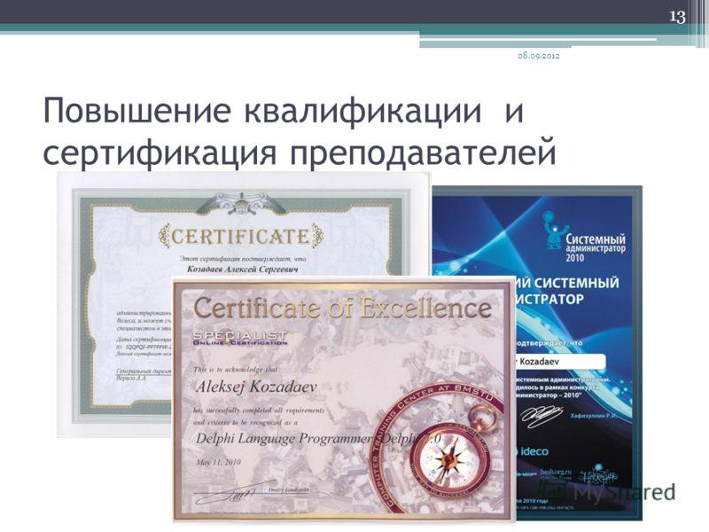 Повышение квалификации и сертификация преподавателей 08.09.2012 13