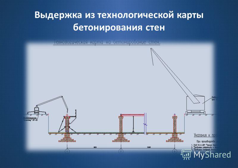 Выдержка из технологической карты бетонирования стен