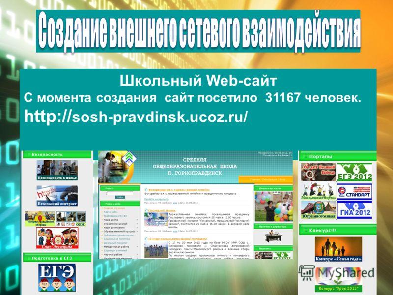 Школьный Web-сайт С момента создания сайт посетило 31167 человек. http:// sosh-pravdinsk.ucoz.ru/