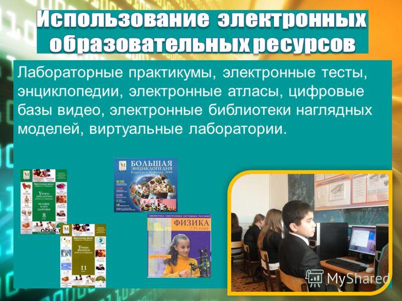 Лабораторные практикумы, электронные тесты, энциклопедии, электронные атласы, цифровые базы видео, электронные библиотеки наглядных моделей, виртуальные лаборатории.