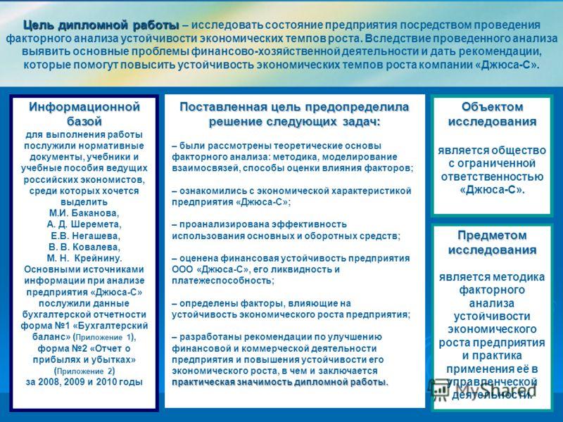 Презентация на тему Дипломная работа Пересыпкиной Людмилы  2 Цель дипломной работы Цель дипломной работы исследовать состояние предприятия посредством проведения факторного анализа устойчивости